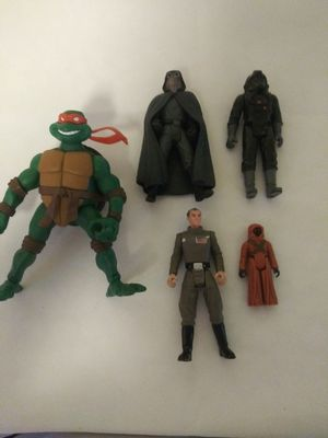 4 Star Wars Action Figures & 1 Ninja Turtle for Sale in Sunnyvale, CA