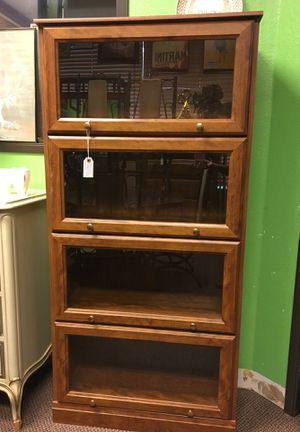 Antique 4 section leaded glass oak wood lawyer bookcase_Librera antigua de madera de roble de 4 secciones for Sale in Irving, TX
