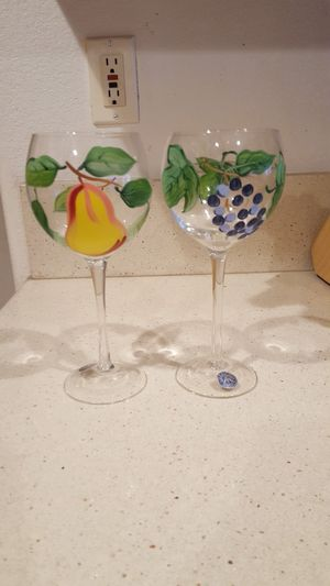 HAND PAINTED GLASS WINE GLASSES for Sale in Escondido, CA