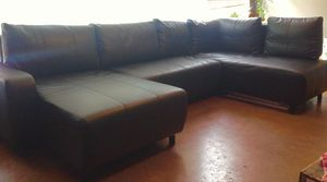 Black faux leather couch for Sale in Macon, GA