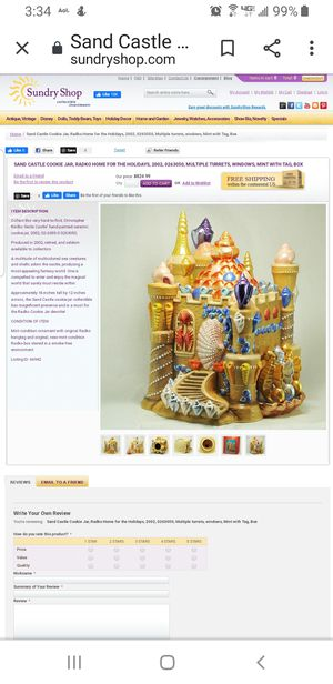 Sand Castle Cookie Jar for Sale in Chicago, IL