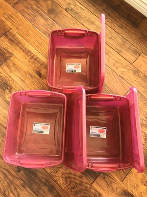 3 Sterlite Magenta Colored Storage Containers 15Quart for Sale in Phoenix, AZ