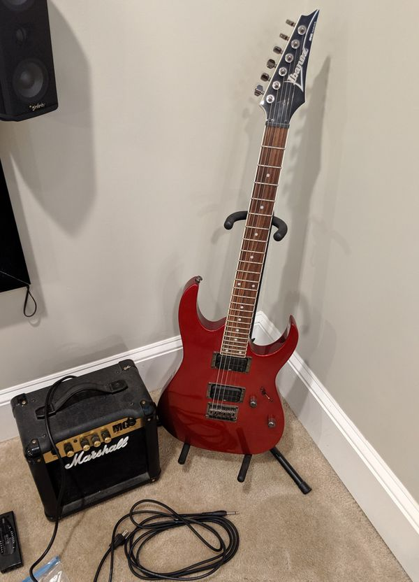 WTS Ibanez guitar, Marshall amp, bag & extras