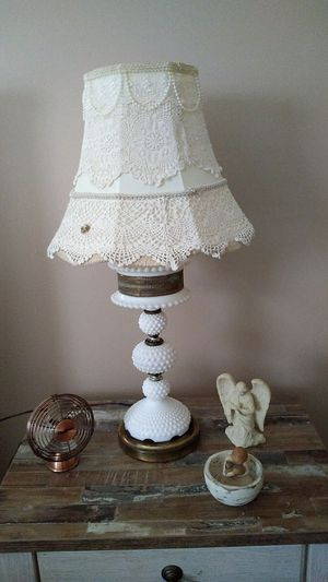 Antique milk glass lamps with custom made shades. for Sale in Lakehurst, NJ