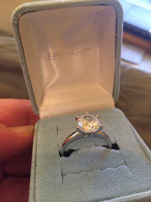 Platinum-clad, .925 silver ring with cubic zirconium stone. for Sale in Modesto, CA