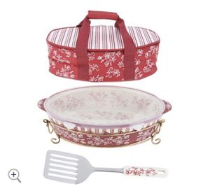 Green Temp-tations Floral Lace 3-qt Pack n' Go Baker with Tote & Server for Sale in Pompano Beach, FL