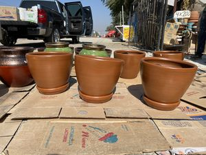terra cota clay planters with saucer included for Sale in Anaheim, CA