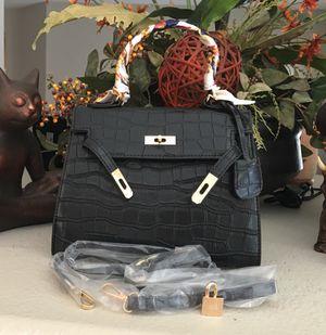 Women's Handbag Shoulder Crossbody Messenger Bag with Top Handle Black Embossed Alligator for Sale in Henderson, NV