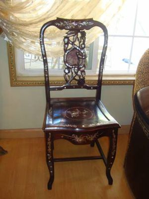"""Antique chinese cherry wood chair, see photo It has floral shining incrustation, that shines in light. Like new. Measurements Height - 38"""" Height u for Sale in Los Angeles, CA"""