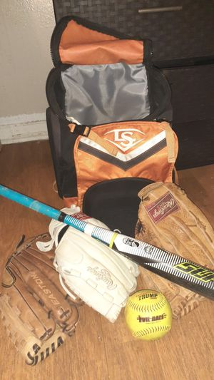 Easton rawlings gloves, evil ball trump edition, Louisville slugger baseball bat and backpack for Sale in Dallas, TX