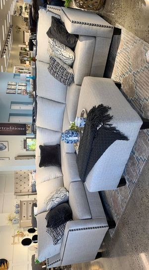 ☆SAME DAY DELIVERY☆New Ashley Fog/Beige 3-Piece Oversized Sectional, Couch☆Living Room☆39 Down Payment♡ for Sale in Houston, TX