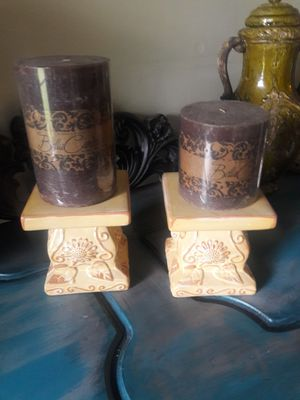 Ceramic rustic candle holders, CANDLES NOT INCLUDED, MEASUREMENTS ARE ON THE PICTURES, PICK UP AT EAST ORLANDO for Sale in Orlando, FL