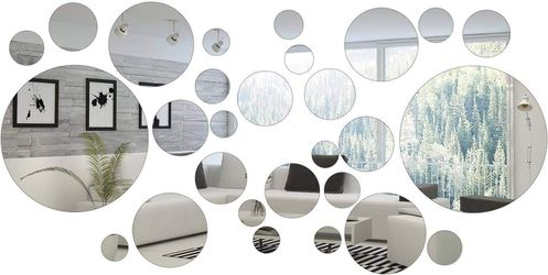 Removable Acrylic Mirror Setting Wall Sticker (Round Circle, 32 Pieces) 🛳SHIPPING ONLY📦 for Sale in Fremont,  CA