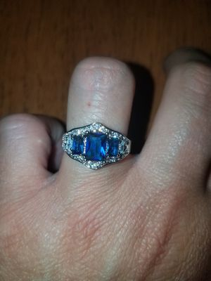 Sterling silver blue and white sapphire ring available in sizes 7 and 8 for Sale in Dundalk, MD