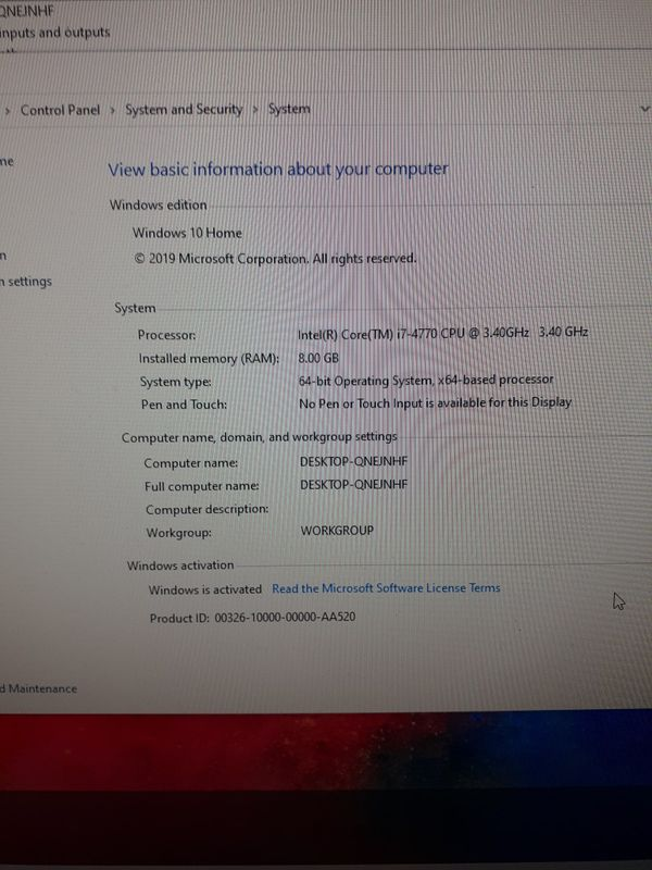 Dell XPS 8700 i7-4770 3.40 GHz 8 GB RAM 500 GB SSD Crucial windows 10 Home installed