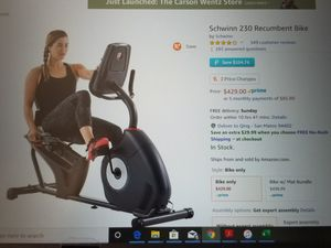 Schwinn Recumbent Bike - home gym bicycle for Sale in San Mateo, CA