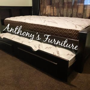 Twin Bed & Twin Trundle + 2 Mattresses for Sale in Norwalk, CA
