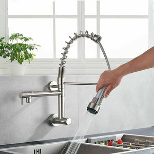 Wall Mount Kitchen Sink Faucet Pull Down Sprayer Swivel Tap Brushed Nickel for Sale in New York, NY