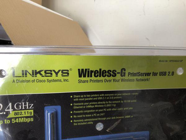 Linksys wireless print server WPS54GU2 for USB 2.0