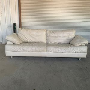 Natuzzi White Italian Leather Sofa - Preowned for Sale in Garland, TX