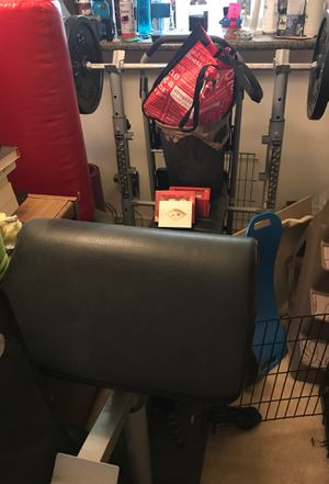 Workout bench and weights. (barbells and short barbells ) for Sale in Oakton, VA