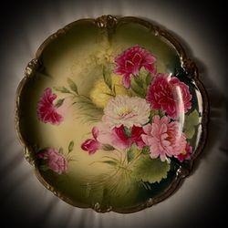 RARE! Orig. Vintage Antique Bavaria/Bavarian German/Germany FINE PORCELAIN Large Round Plate/Platter Green/Gold Fuchsia/Pink Flower Floral for Sale in San Diego,  CA