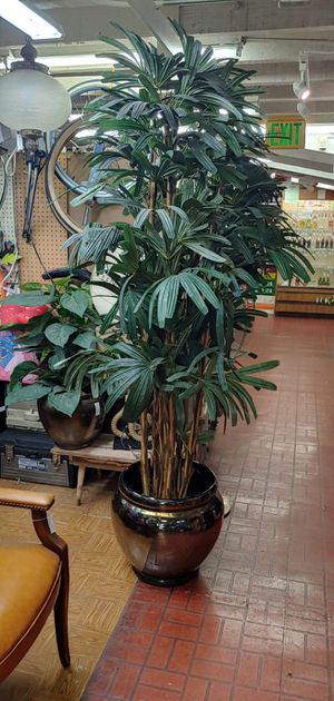 """Terracotta glazed plant pot with fake plant included 78"""" tall for Sale in Orange, CA"""