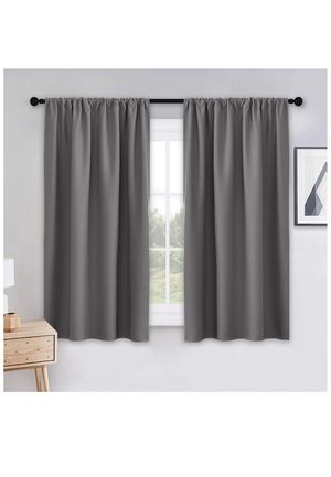 PONY DANCE Bedroom Blackout Curtains - Grey Window Treatments Set Home Decoration Curtains Light Blocking Solid Soft Rod Pocket Drapes for Sale in Chicago, IL