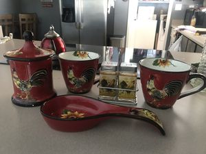 Red Rooster set of 4 ceramic Kitchen Canisters decoration for Sale in Phoenix, AZ