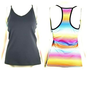 Aspire Women Racer Back Active Wear Size Medium Black Multi Colored Striped Back for Sale in Avondale, AZ