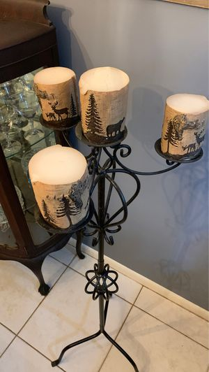Tall Candle Holder with Nature Candles for Sale in West Palm Beach, FL