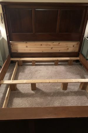 Cherry Wood King Bed Frame with Matching Chest of Drawers for Sale in Orting, WA
