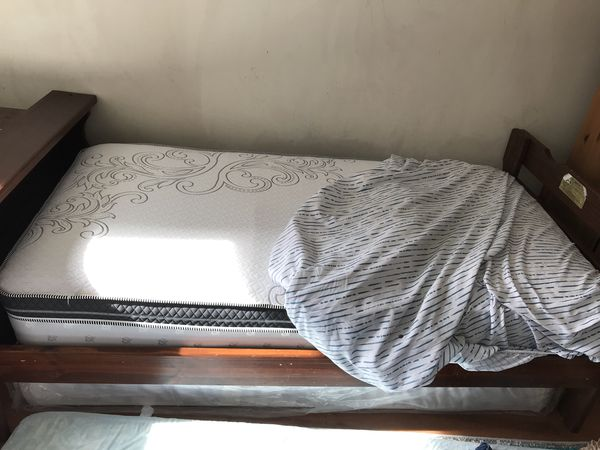 Twin bed frame with brand new matters and box