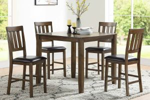 5 PIECE WALNUT FINISH BREAKFAST KITCHENETTE COUNTER HEIGHT DINING TABLE SET for Sale in Downey, CA