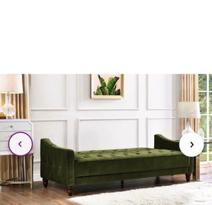Suede couch bed color forest green for Sale in Temecula, CA