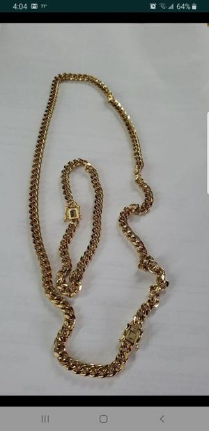 Gold plated 14k Cuban link chain and bracelet for Sale in Carol City, FL