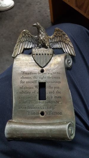 Used, Vintage Brass Wall Plate Switch Cover Eagle Thomas Jefferson Freedom for Sale for sale  Ontario, CA