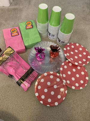 Pink , Red and Green Birthday Party Supplies for Sale in Riverview, FL