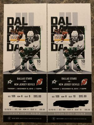 12/10 - Dallas Stars vs NJ Devils 2 tickets 8 rows from glass for Sale in Irving, TX