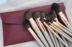 Makeup brushes 15pcs with leather maroon pouch for Sale in Atlantic Beach, NY