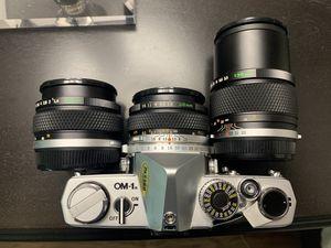 Olympus OM-1N 35mm SLR Body, 28mm F3.5, 50mm F1.4,& 135mm F3.5 Zuiko for Sale in Chicago, IL