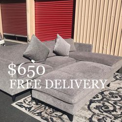 Grey 3 Piece Living Spaces Sectional Couch w/ Ottoman, Chaise & Pillows for Sale in Las Vegas,  NV