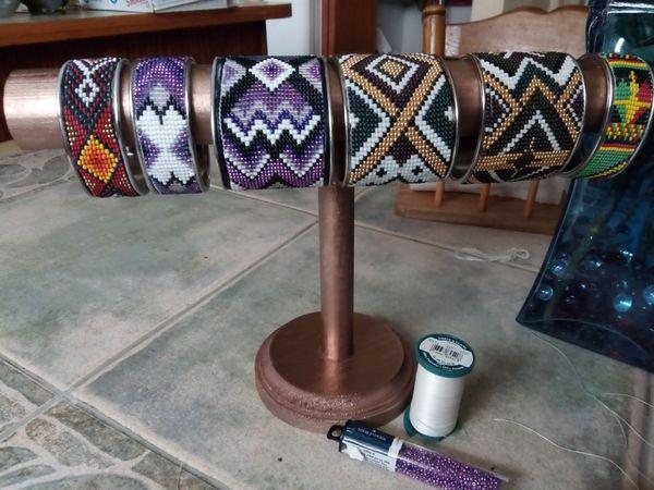 Handmade beaded cuffs