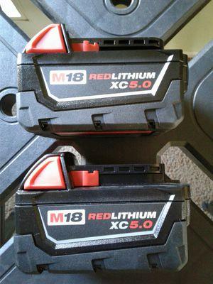 2 NEW MILWAUKEE M18 XC 5.0 BATTERIES for Sale in Casa Grande, AZ