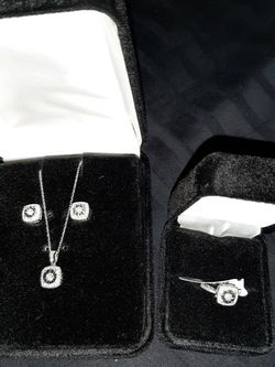 Diamond Square Neckace, Earrings And Ring Matching Set for Sale in Stockton,  CA