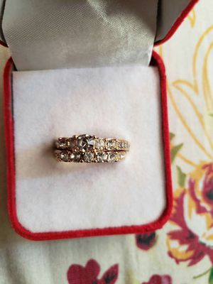 Ladies fashion jewellery Anniversary White Engagement White 18 K golden filled set ring size 7 for Sale in Moreno Valley, CA