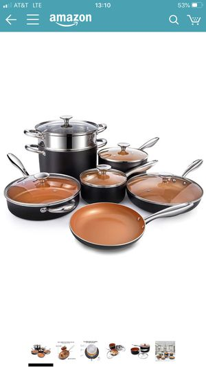 MICHELANGELO Copper Pots and Pans Set Nostick 12 Piece, Ultra Nonstick Copper Cookware Set with Ceramic Titanium Coating, Ceramic Pots and Pans Set N for Sale in San Leandro, CA