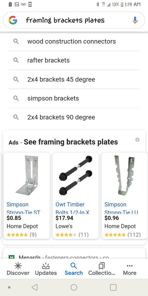 Variety of framing brackets etc.