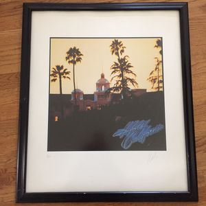 The Eagles Hotel California lithograph print (framed) limited edition of 200 signed by artist John KOSH for Sale in Portland, OR