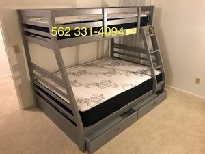 Gray Full/Twin Bunkbed with mattresses Included for Sale in Stockton, CA
